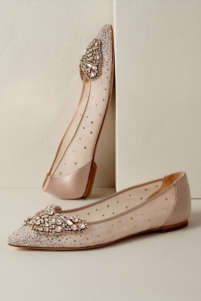 Badgley Mischka Neutral Badgley Mischka Queen Butterfly Flats | BHLDN