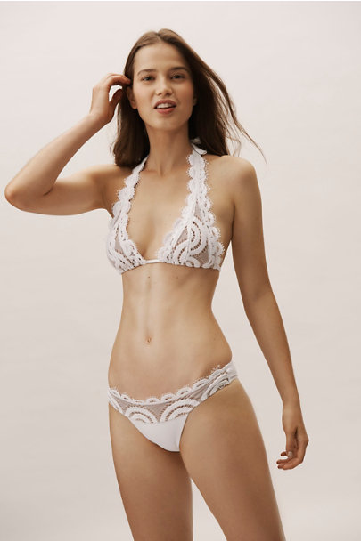 bbf46bb958 ... PilyQ White Midnight Lace Halter Bikini Top | BHLDN