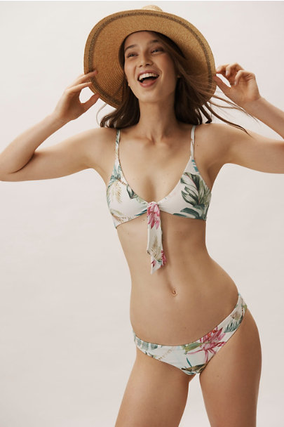PilyQ Botanical Motif Andrea Ruched Bikini Bottom | BHLDN