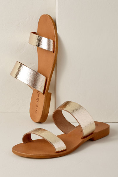acb397647 Cocobelle Gold Cocobelle Leather Slide Sandals