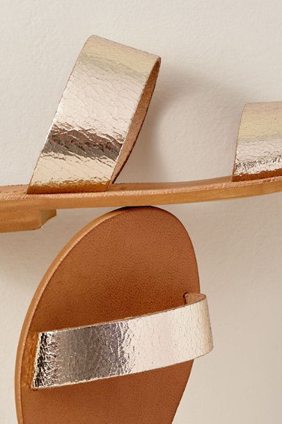 Cocobelle Gold Cocobelle Leather Slide Sandals | BHLDN
