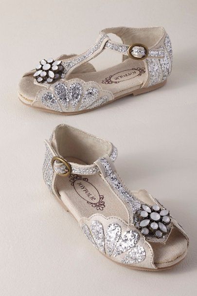Joyfolie Silver Mari Flower Girl Flats | BHLDN