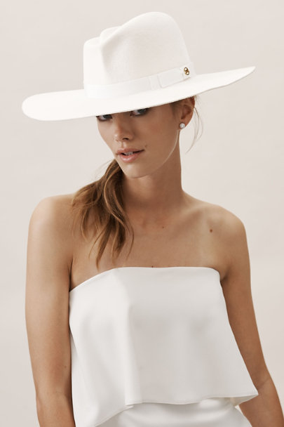 Gladys Tamez White Hunter Felt Hat | BHLDN