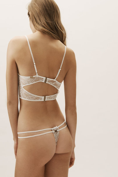 For Love & Lemons Ivory Sophie Strappy Thong | BHLDN