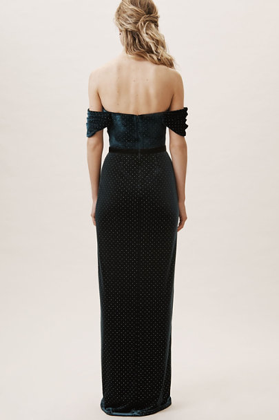 ML Monique Lhuillier Dark Emerald Briana Velvet Dress | BHLDN