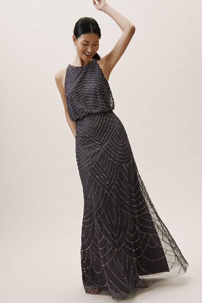 Adrianna Papell Gunmetal Madigan Dress | BHLDN