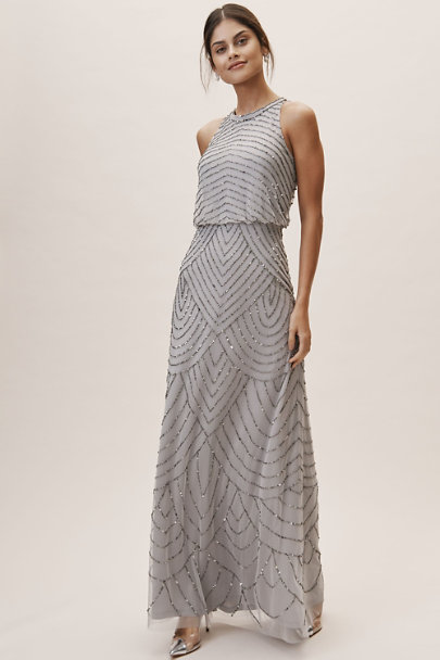 Adrianna Papell Bridal Silver Madigan Dress | BHLDN