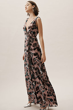 Sancia Velvet Burnout Wrap Dress