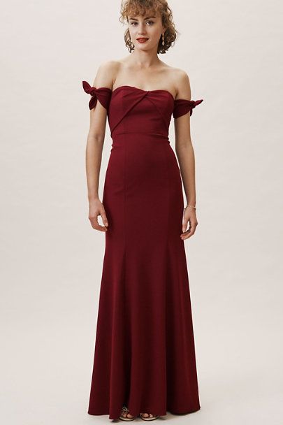 Watters Bordeaux Delilah Dress | BHLDN