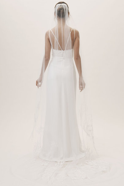 Olivia the Wolf Ivory Wildflowers Cathedral Veil | BHLDN