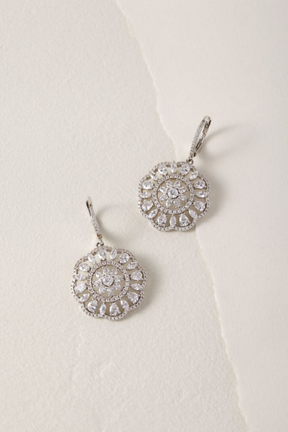 Nina Silver Sunburst Earrings | BHLDN