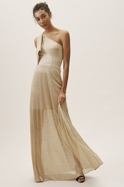 Dress the Population Gold Savannah Dress | BHLDN