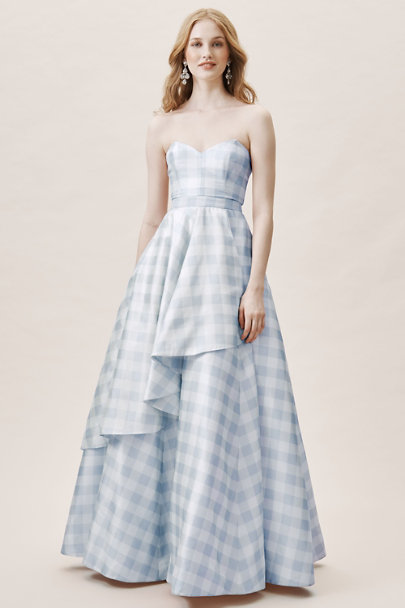 Fame and Partners Light Blue and White Tosia Gingham Dress | BHLDN