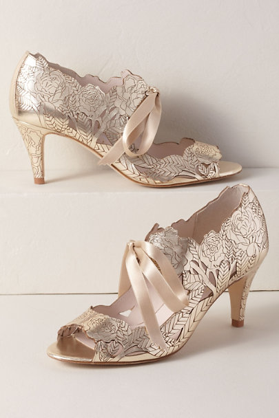 Harriet Wilde Gold Harriet Wilde Peony Heels | BHLDN