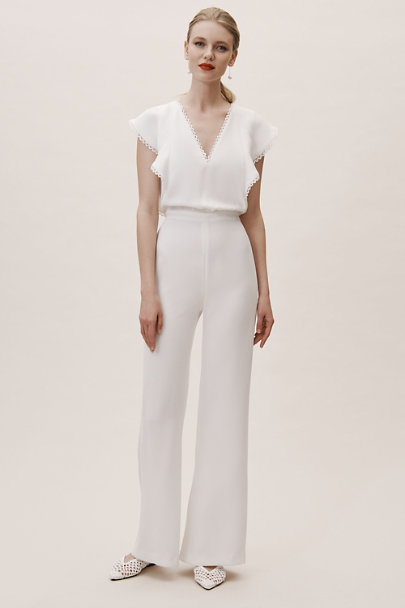 ML Monique Lhuillier Ivory Brady Jumpsuit | BHLDN