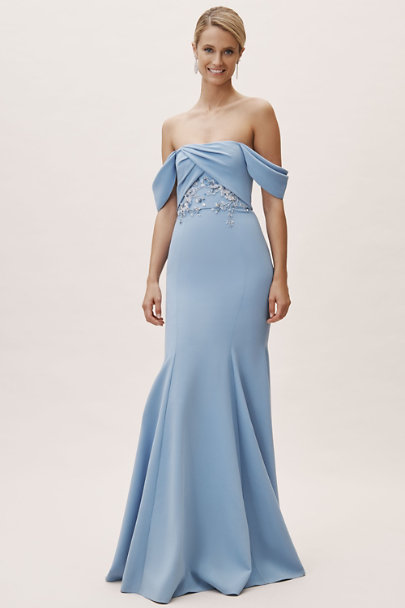 Marchesa Notte Light Blue Shelly Dress | BHLDN