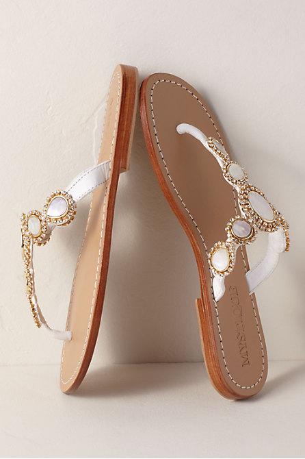 Mystique White Leather Sandal