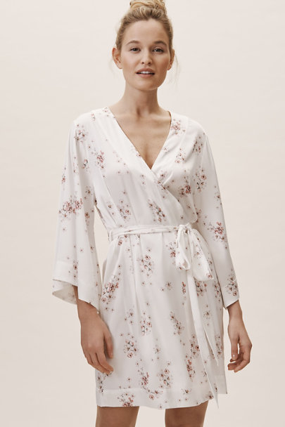 Homebodii Ivory Ditsy Floral Robe | BHLDN