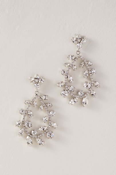 Elizabeth Bower Silver Eden Droplet Earrings | BHLDN