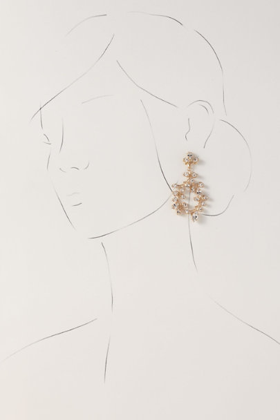 Elizabeth Bower Gold Vine Crystal Chandelier Earrings | BHLDN