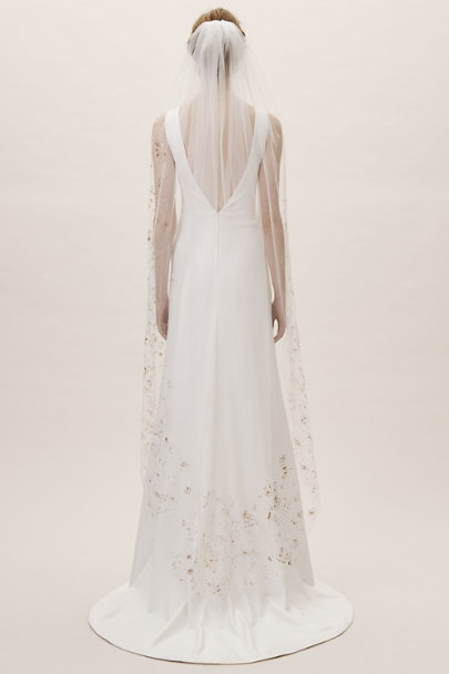 Davie & Chiyo Ivory Gold Leaf Veil | BHLDN