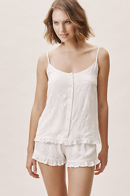 Ruffled Embroidered Pajama Set