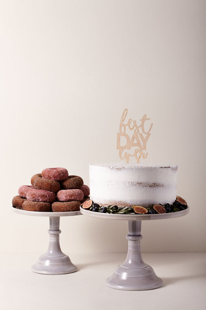 Mosser Glass Grey Motif Large Marble Cake Stand | BHLDN