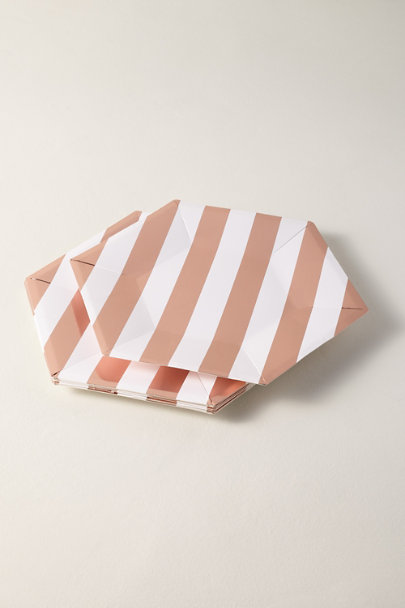 Meri Meri Copper Rose Gold Stripe Paper Plates | BHLDN