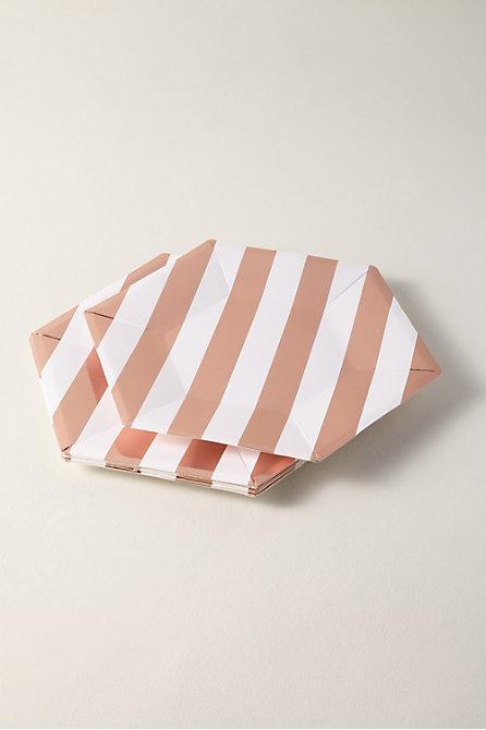 Rose Gold Stripe Paper Plates