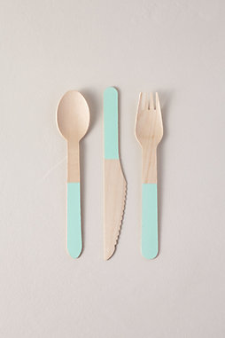 Painted Wooden Cutlery Set