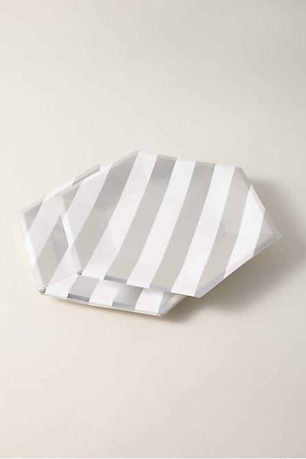 Silver Striped Paper Plates