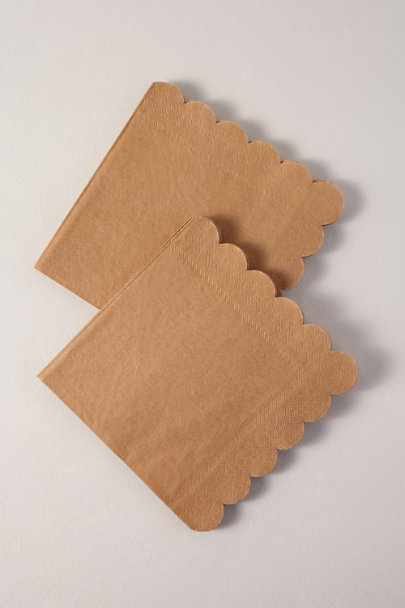 Meri Meri Brown Motif Natural Scalloped Napkins | BHLDN