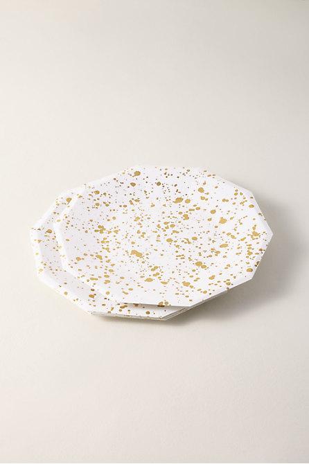 Gold Splatter Paper Plates
