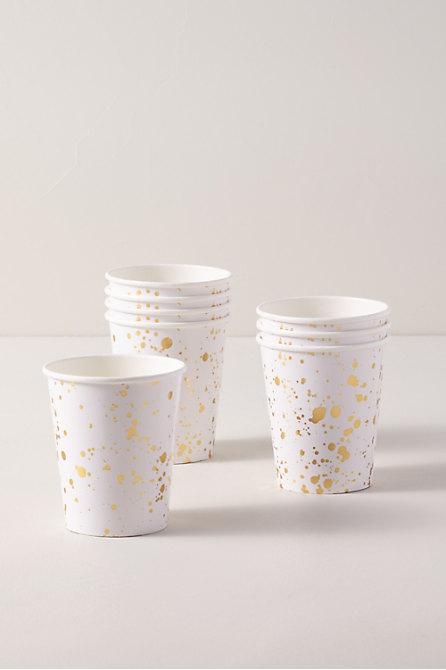Gold Splatter Paper Cups
