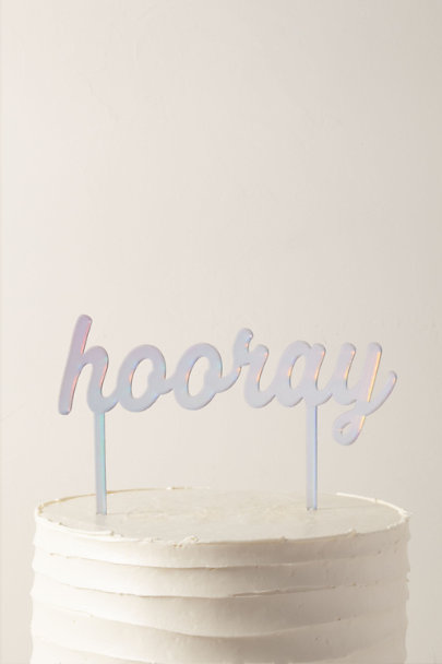 My Mind's Eye Silver Hooray Cake Topper | BHLDN