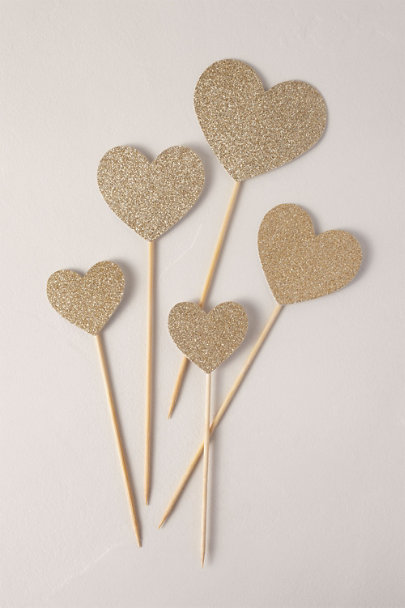 My Mind's Eye Gold Glitter Hearts Party Picks | BHLDN