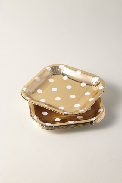 My Mind's Eye Gold Polka Dot Paper Plates | BHLDN