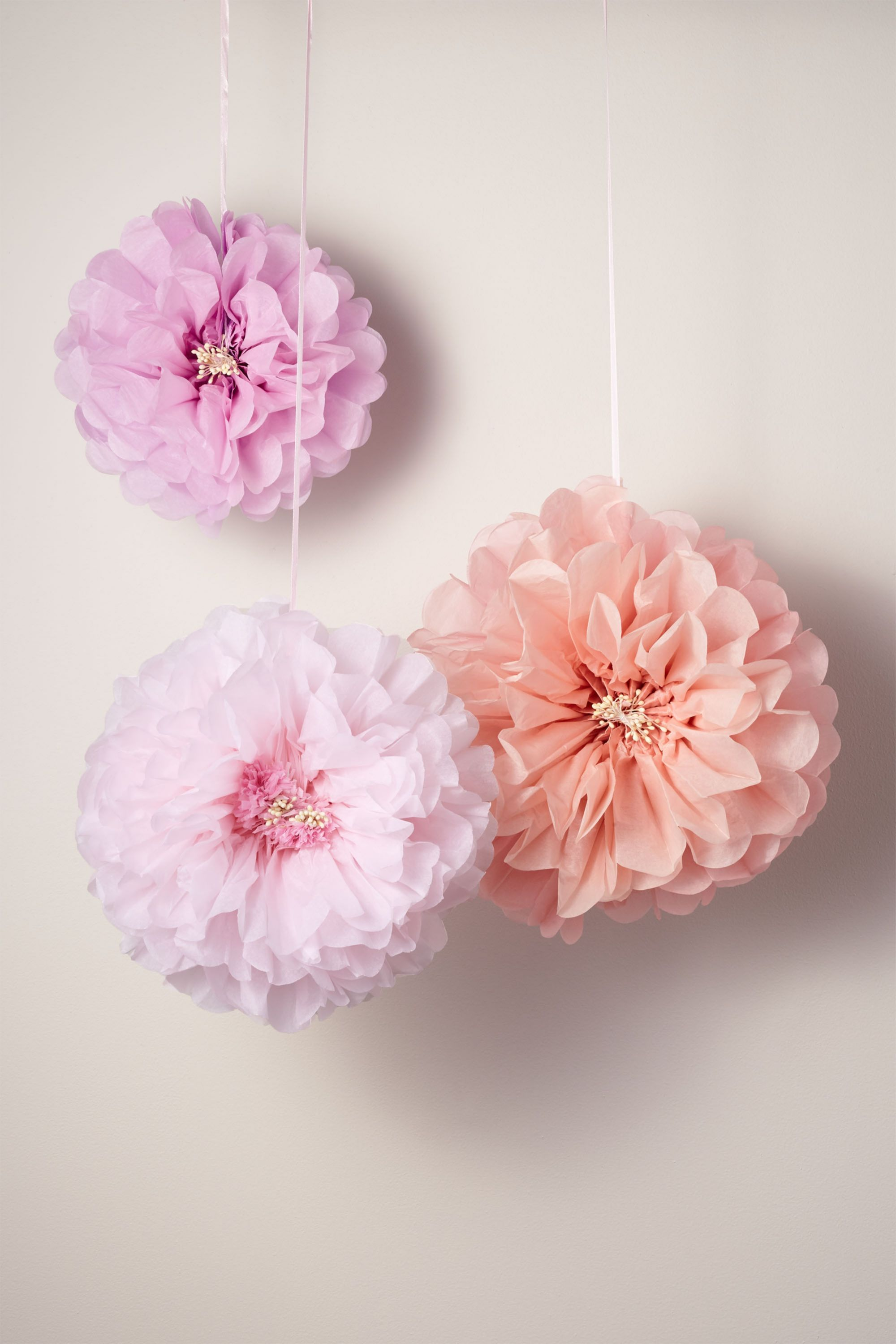 Pink Flower Pom Poms | BHLDN