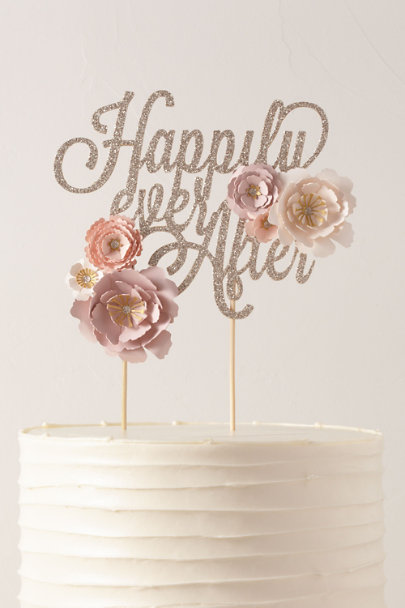 May Contain Glitter Pink Happily Ever After Cake Topper | BHLDN