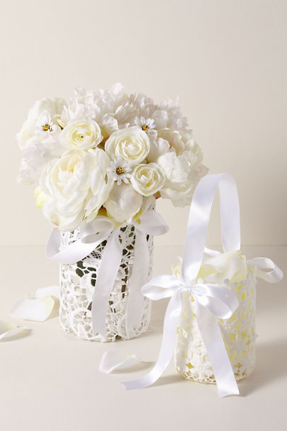 Whichgoose White Medium Lace Flower Girl Basket | BHLDN