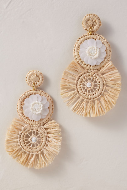 Verbena Madrid Neutral Raffia Sequin Earrings | BHLDN