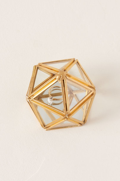 Isaac Jacobs Gold Glass Geodome Ring Box | BHLDN