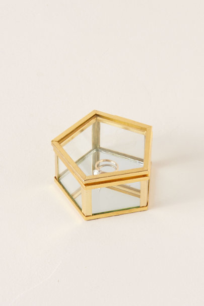 Isaac Jacobs Gold Glass Pentagon Ring Box | BHLDN