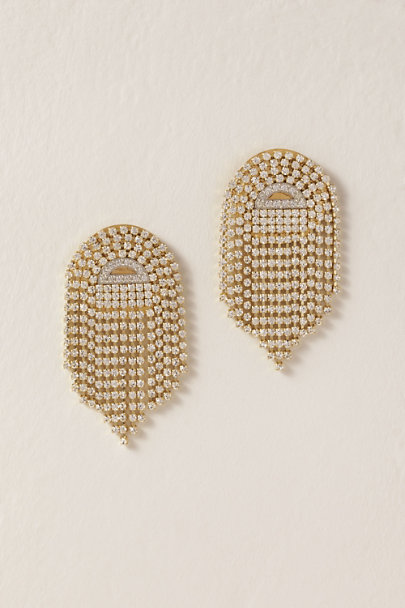 Sandy Hyun Gold Deco Fringe Earrings | BHLDN