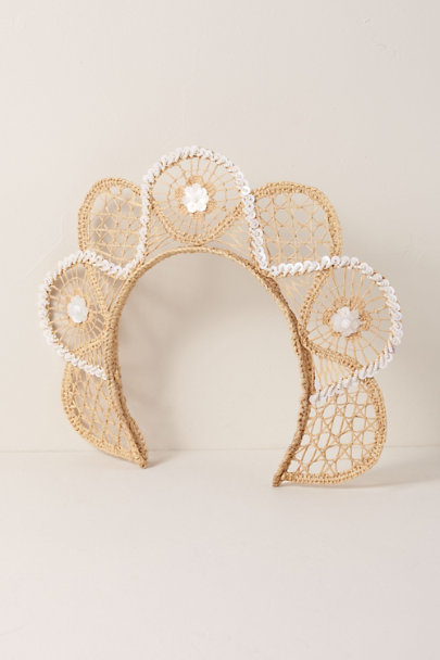 Verbena Madrid Neutral Embroidered Raffia Crown | BHLDN