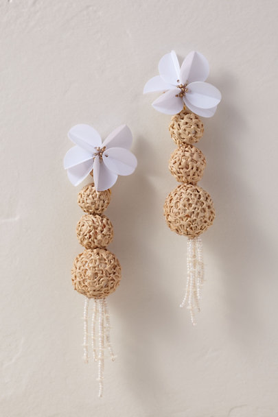 Verbena Madrid Neutral Raffia Sphere Earrings | BHLDN