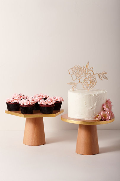 Esselle Gold Gilded Hexagon Cake Stand | BHLDN