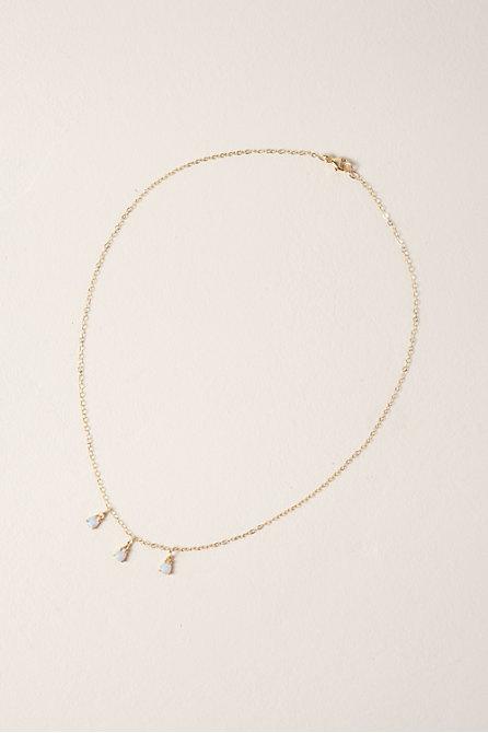 Triple Opal 14k Gold Fill Drop Necklace