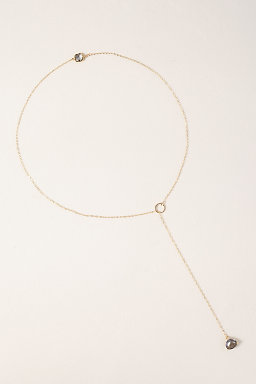 Gray Quartz 14k Gold Fill Lariat Necklace