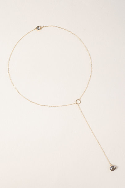 Whim Jewelry Gold Gray Quartz 14k Gold Fill Lariat Necklace | BHLDN